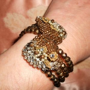 Unsigned Miriam Haskell Coil Bronze Color Bracelet